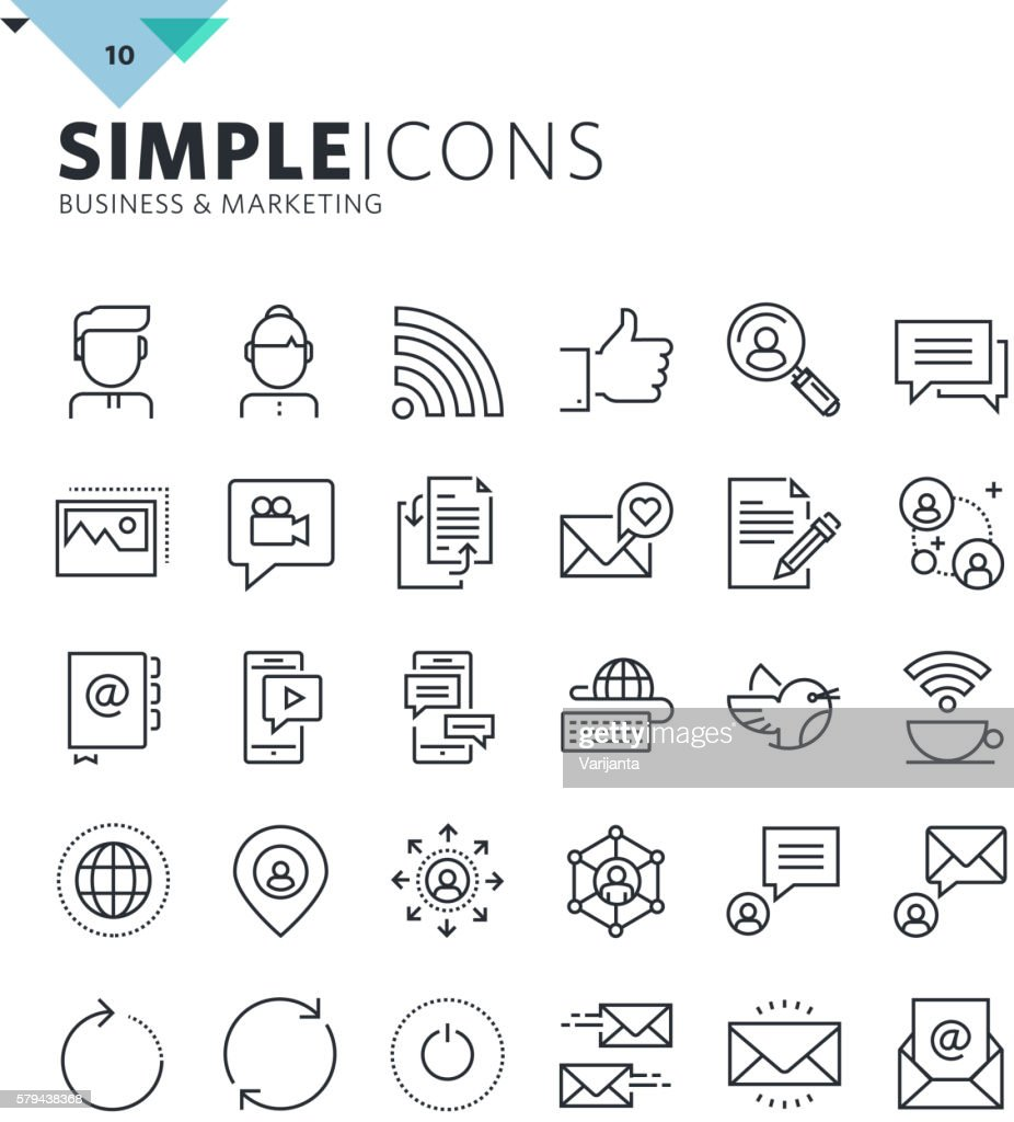 Modern thin line icons of social media and networking