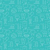 Modern thin line icons seamless pattern for dental care