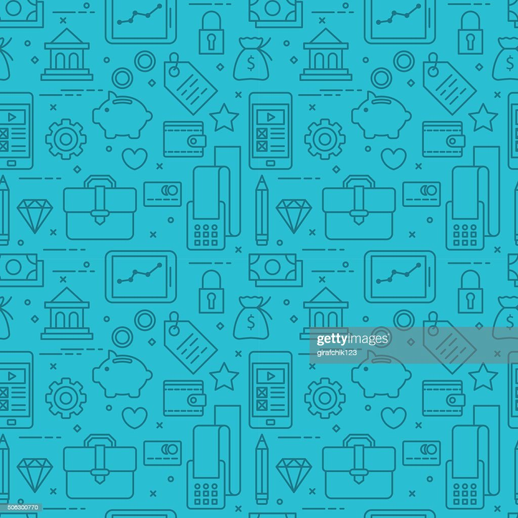 Modern thin line icons seamless pattern for web graphics