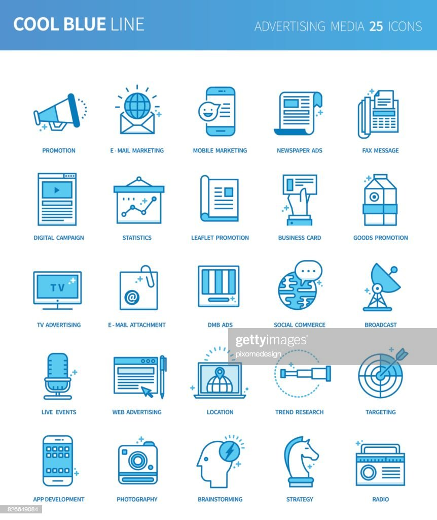Modern thin line icons set of advertising media. Premium quality outline symbol set. Simple linear pictogram pack. Editable line series