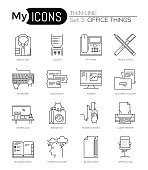 Modern thin line icons set of basic business essential tools, office equipment