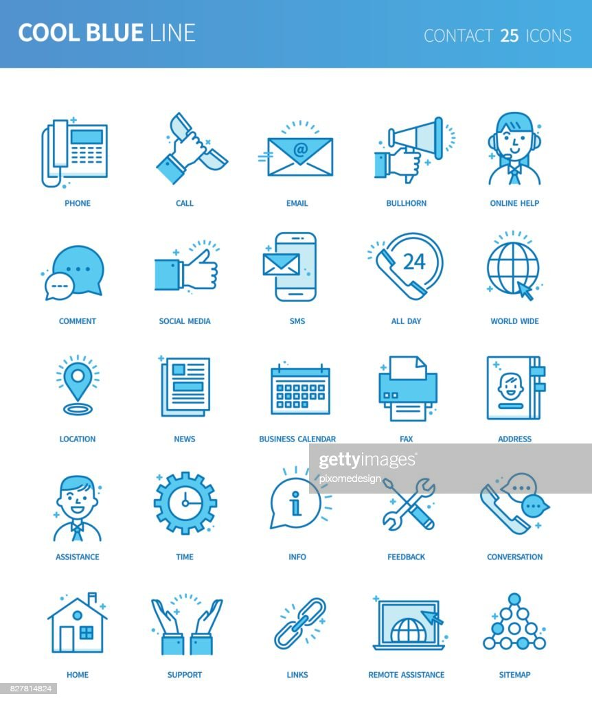 Modern thin line icons set of business contact. Premium quality outline symbol set. Simple linear pictogram pack. Editable line series