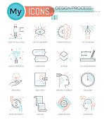 Modern thin line icons set of design process