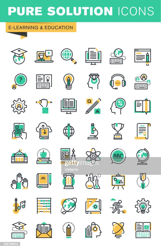 Modern thin line icons set of distance education