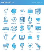 Modern thin line icons set of medical. Premium quality outline symbol set. Simple linear pictogram pack. Editable line series