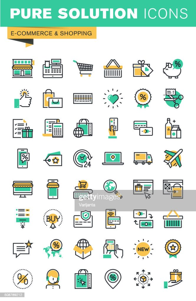 Modern thin line icons set of shopping