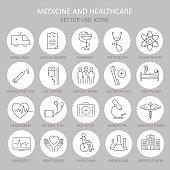 Modern thin line of icons on medicine.