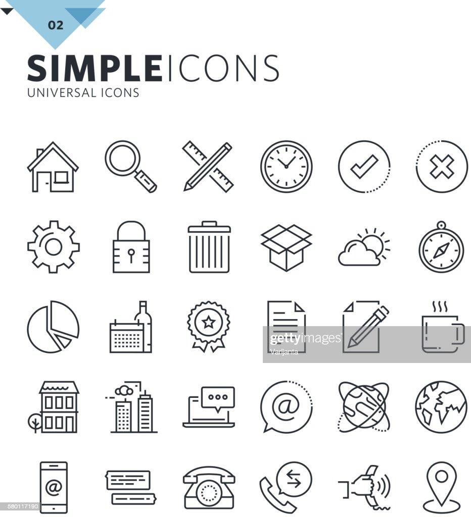 Modern thin line universal web icons