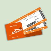 Modern train travel boarding pass two tickets isolated on white background.