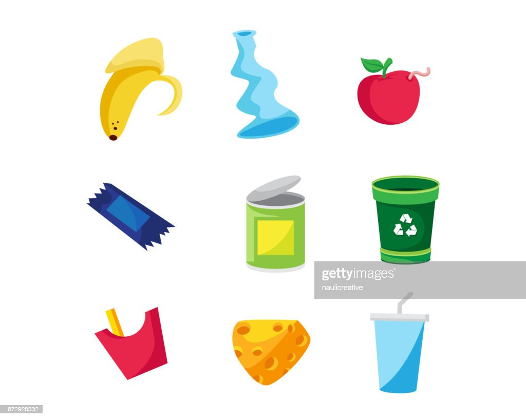 Modern Trash Object Illustration