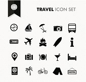 Modern travel vacations and holidays icon set.