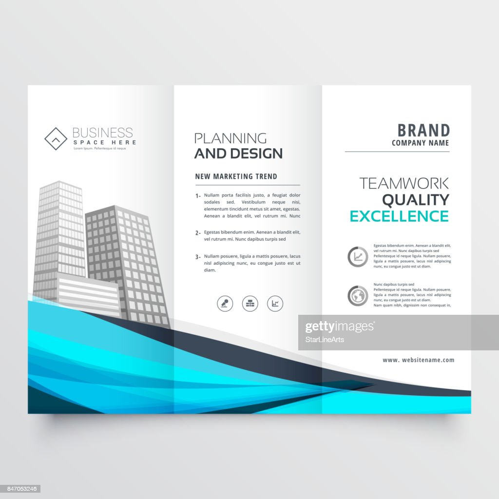 modern trifold brochure design with blue wave vector art getty images