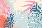 Modern tropical background. Jungle plants nature backdrop. Summer palm leaves wallpaper.