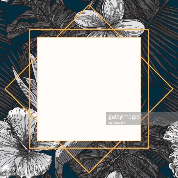 ilustraciones, imágenes clip art, dibujos animados e iconos de stock de moderna planta tropical marco plantilla - azul marino