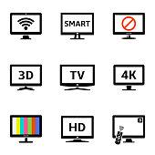 Modern tv icons set