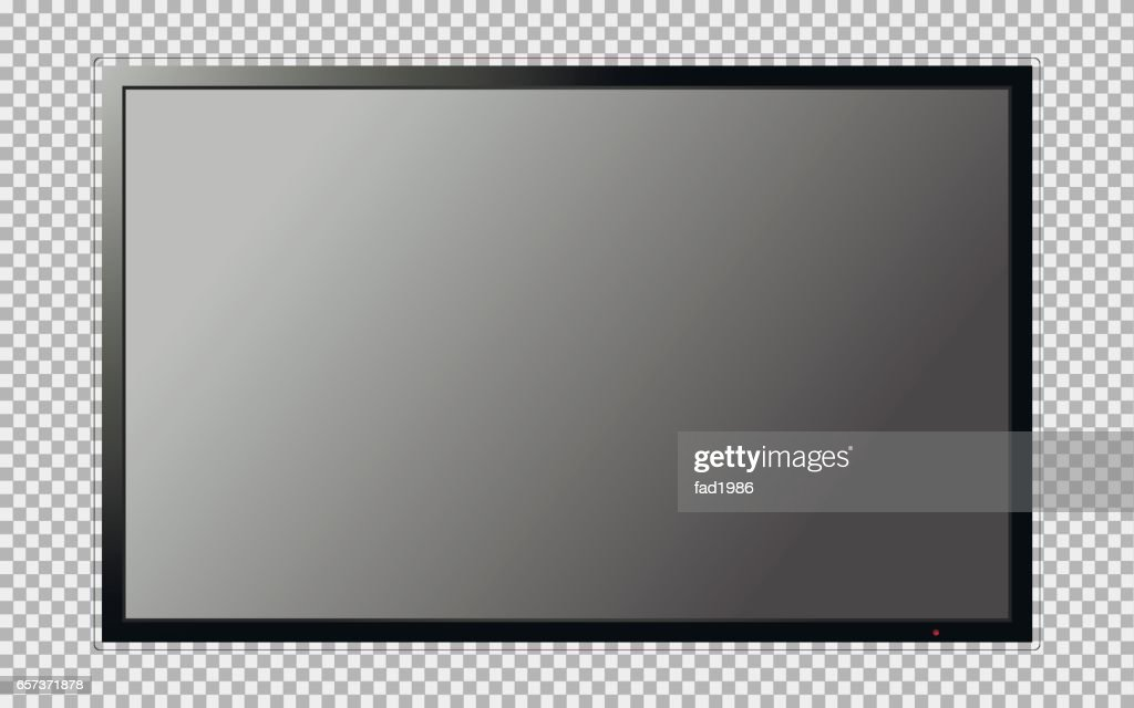 Modern TV with blank screen isolated on transparent background
