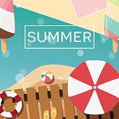 Modern typographic summer poster design with ice cream, beach