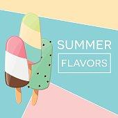 Modern typographic summer poster design with ice cream