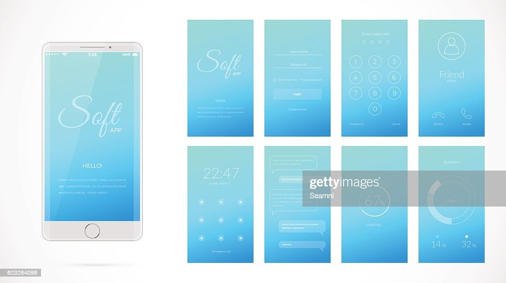 Modern UI screen design for mobile app with web icons.