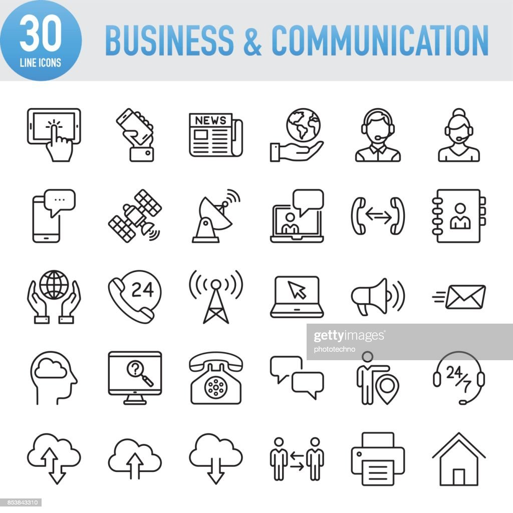 Modern Universal Business & Communication Line Icon Set