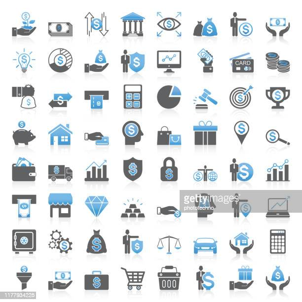 modern universal business & finance icons collection - business stock illustrations