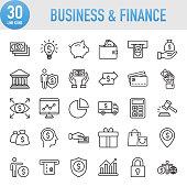 Modern Universal Business & Finance Line Icon Set