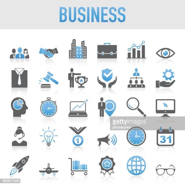 illustrazioni stock, clip art, cartoni animati e icone di tendenza di set di icone aziendali universali moderne - economia