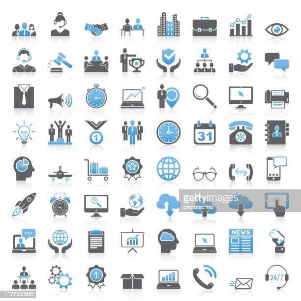 modern universal business icons collection - industry stock illustrations