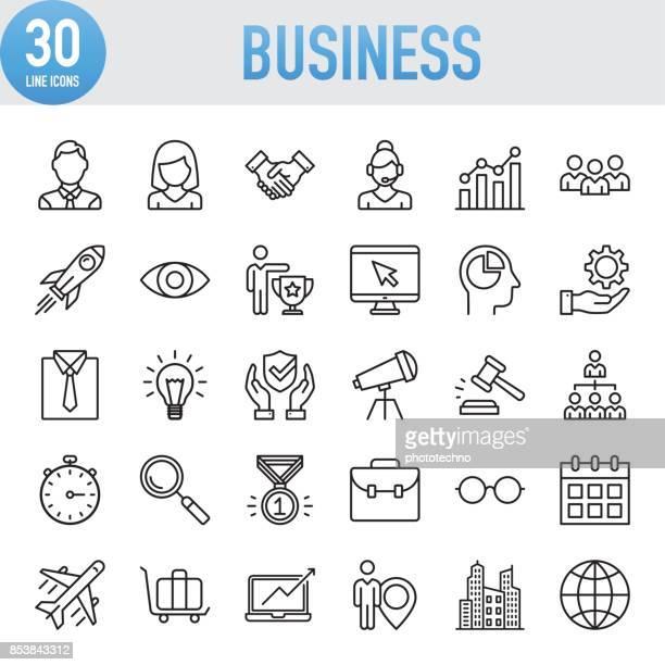 stockillustraties, clipart, cartoons en iconen met moderne universele business line icon set - economie