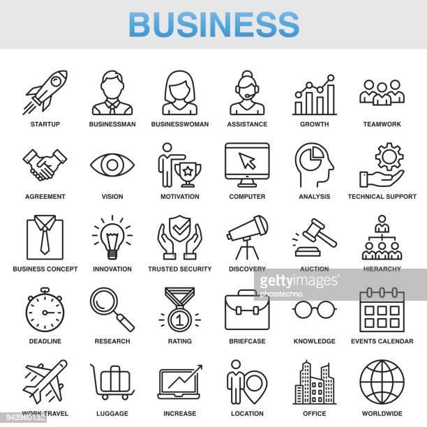 illustrazioni stock, clip art, cartoni animati e icone di tendenza di set di icone universal business line moderno - economia