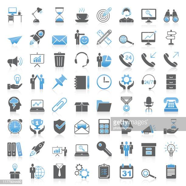 modern universal business & office icons collection - office stock illustrations