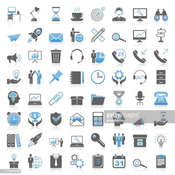 stockillustraties, clipart, cartoons en iconen met moderne universele business & office icons collectie - dienstverlening