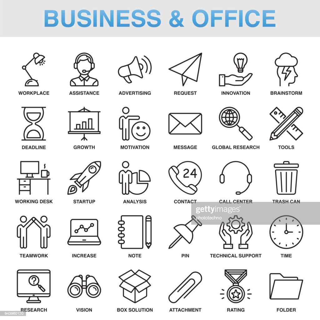 Modern Universal Business & Office Line Icon Set