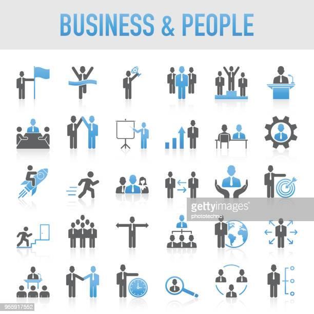 ilustraciones, imágenes clip art, dibujos animados e iconos de stock de negocio universal moderno y conjunto de iconos de personas - recursos humanos