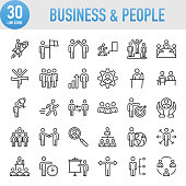 Modern Universal Business & People Line Icon Set