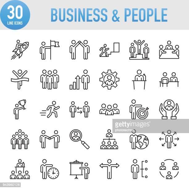 ilustraciones, imágenes clip art, dibujos animados e iconos de stock de negocio universal moderno y conjunto de iconos de línea personas - recursos humanos