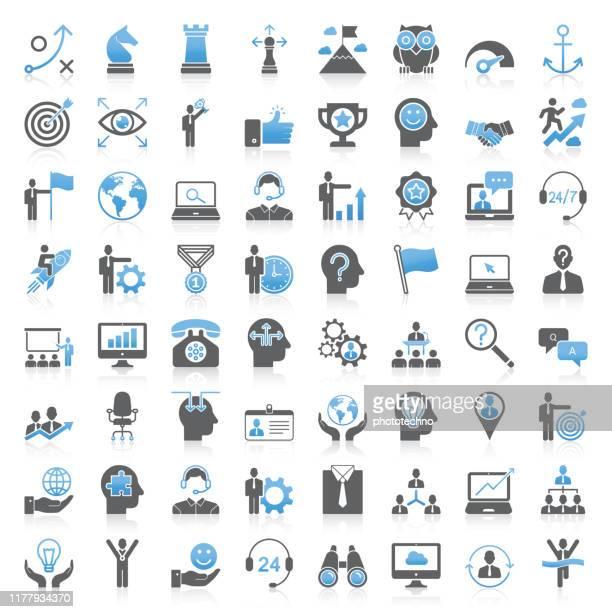 stockillustraties, clipart, cartoons en iconen met moderne universele bedrijfsstrategie en management icons-collectie - ontwikkeling