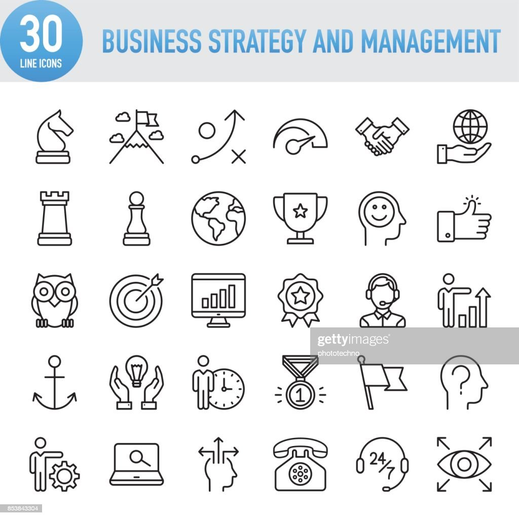 Modern Universal Business Strategy and Management Line Icon Set