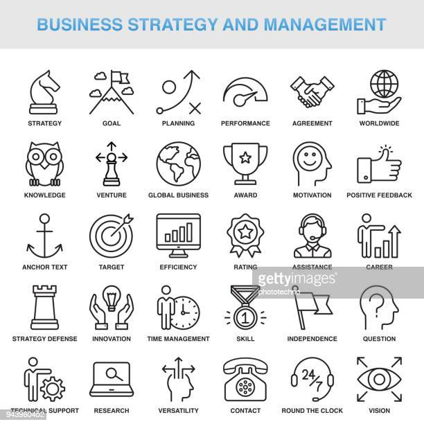 modern universal business strategy and management line icon set - business strategy stock illustrations