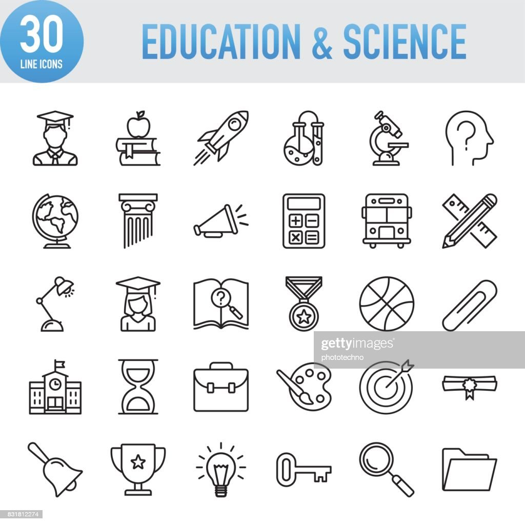 Modern Universal Line Education And Science Icons