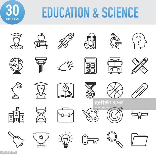 illustrations, cliparts, dessins animés et icônes de l'éducation moderne ligne universelle et les icônes de la science - établissement scolaire