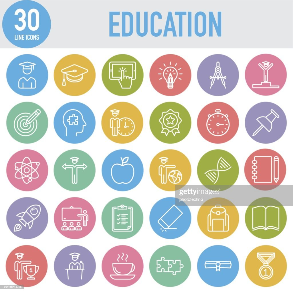 Modern Universal Line Education Icons