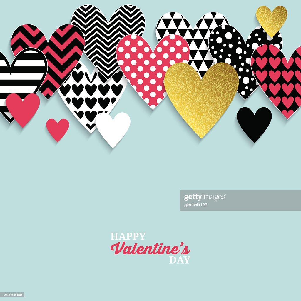 Modern Valentine's day abstract background with paper hearts.