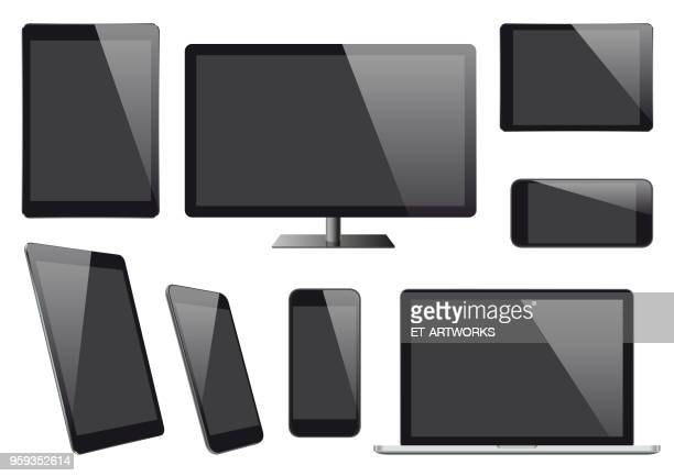 modern vector digital devices with blank screens - retail display stock illustrations