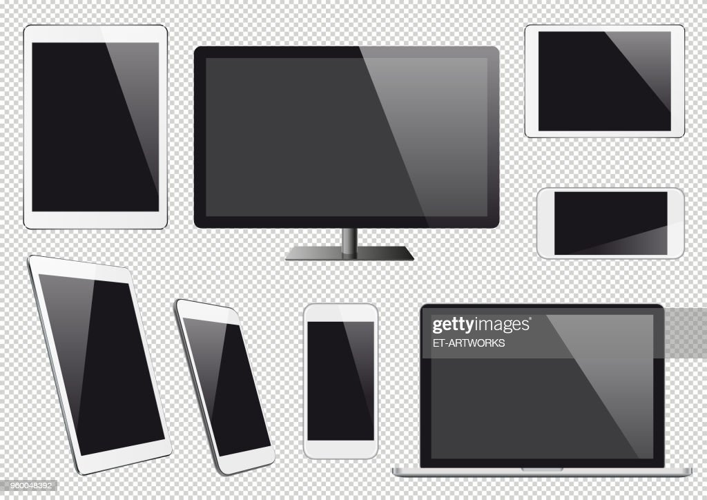 Modern vector digital devices with blank screens : stock illustration