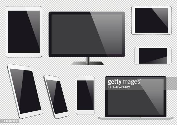 Modern vector digital devices with blank screens
