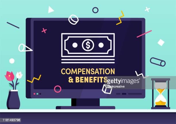modern vector illustration concept for compensation & benefits - satisfaction stock illustrations