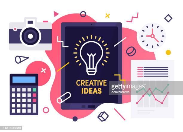 illustrazioni stock, clip art, cartoni animati e icone di tendenza di concetto di illustrazione vettoriale moderna per idee creative - scoprire nuovi terreni