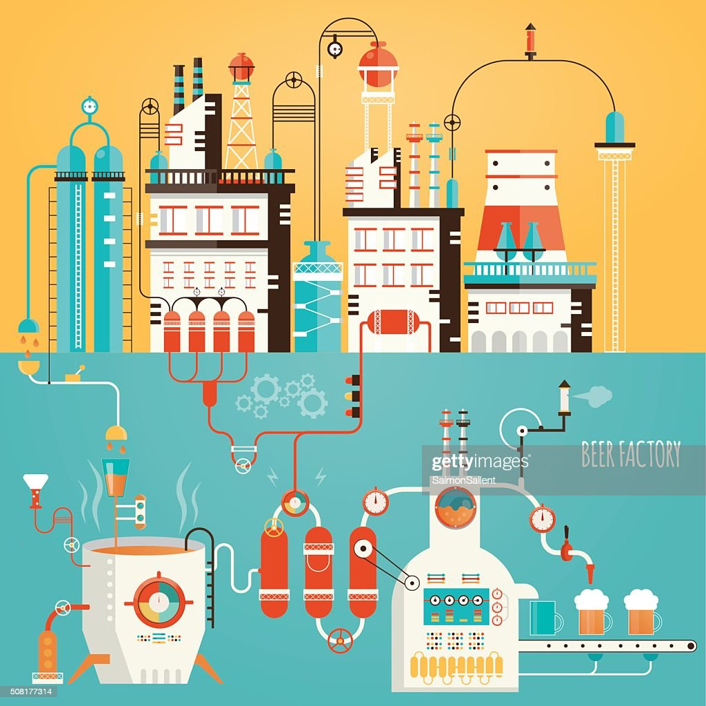 Modern vector illustration of beer industry, beer manufacturing,