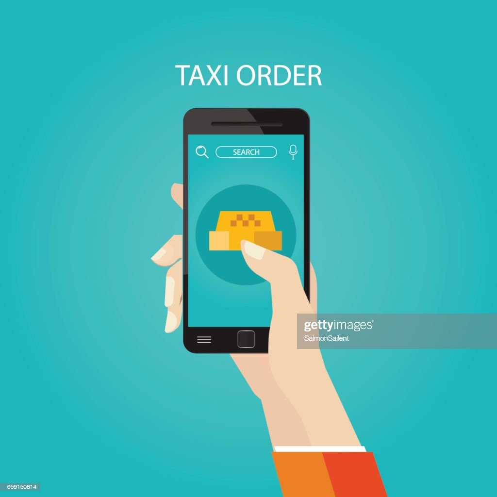 Modern vector illustration of booking taxi via mobile app Modern vector illustration of booking taxi via mobile app